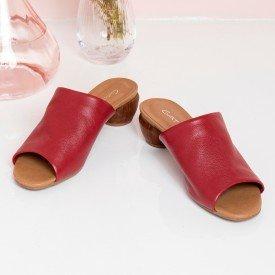 sandalia salto oval vermelho