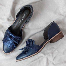 sapato franja azul